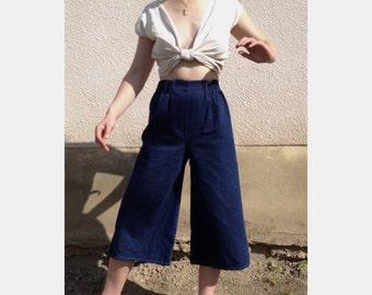 SAMPLE Denim super wide leg pants. Cropped wide leg denim culottes