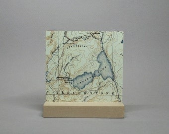 Yellowstone National Park Map Wyoming on Metal for Desk or Shelf Gift for Hiker Climber Men or Women