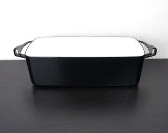 Vintage Dansk Kobenstyle 11.5 in Black Loaf Pan, Baking and Serving Dish, Enameled Steel, France, Jens Quistgaard Mid Century Modern 170083