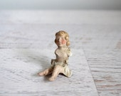 Antique Guardian Angel Statue, German Porcelain Relic Charm, Made in Germany, Found Objects, Mid 19th Century