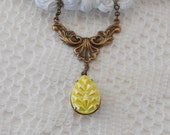 Yellow Necklace, Opalescent Necklace, Art Nouveau Necklace, Neo Victorian Necklace, Iridescent Necklace, Yellow Aurora Borealis, Pendant