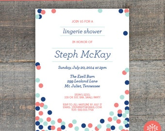 Lingerie Shower Invitation Printable File, Birthday Party, Bachelorette Party, Wedding Shower, Bridal Shower, Print at Home