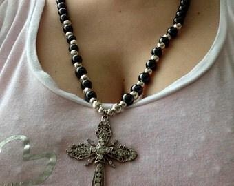 OOAK Gemstone Necklace, Hematite, Hematite Stone Beads, Rhinestone Cross, Silver Plated Spacers