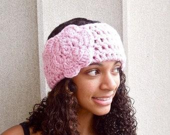 Crochet Headband, Flower Headband, Ear Warmer With Flower, Pink, Women,Teen, Adult,