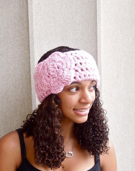 Crochet Headband, Flower Headband, Ear Warmer With Flower, Pink, Women,Teen, Adult,