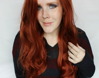 SALE Auburn Lace Front Wig | Long Red Wig | Wavy Long Curly Red Lace Front wig | Maple