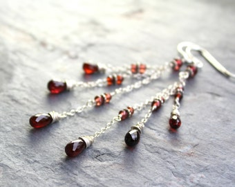 Long Delicate Garnet Earrings Romantic Red Gemstone Briolettes and Beads, Sterling Silver January Birthstone Cascade