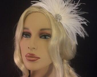 Bridal Hair Comb, Bridal Feather Hair Comb, Bridal Hair Accessory, Ivory Feather Hair Comb, Bridal Bling Comb, Bridal Bling, Wedding Comb