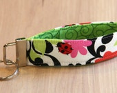 Key Fob Wristlet - Flowers and Ladybugs - Ready to Ship