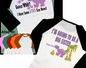 Big Sister Shirt - Dinosaur Big Sister Shirt - Big Sister Dino Shirt - Purple Dinosaur - Personalized Dinosaur Raglan Shirt - Long Sleeve