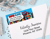 Superhero Return Address Labels, Kids Mailing Labels, Kids Address labels, Boys Superhero Party, Superhero Favors, Superhero Address Labels