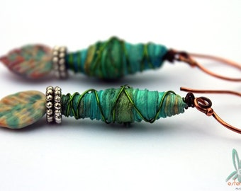 Tropical fun - lightweight green earrings with handmade lampwork glass leaf headpins and tyvek beads