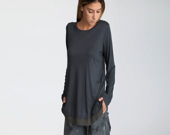 Loose fit  gray Top, Cotton Blouse, Gray Shirt, Long Sleeve Blouse, Minimalist Blouse, chiffon hemline, viscose shirt, tunic