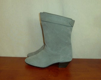 80s Ankle Boots - Gray Suede Leather - Short Heels - Made in Spain - Vintage 1980s - 6 B 6B