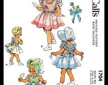 BABY BONNET Sewing Pattern 1950's McCall's # 1704 Size 3 Child Girls Toddler Pinafore Dress Frock and Panties Panty and Sunbonnet / Cap Set