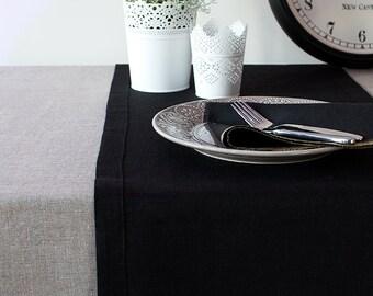 Black TABLE RUNNER - Home Decor Runner - Linen Runner - Easter Table Decor - Wedding Shower Runner - Dinner Party Runner -Rustic Table Decor
