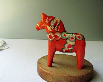 "Vintage Red Dala Horse Orange 5"" Dala Sweden Tag Wooden Horse Figurine Carved Wood Swedish Folk Art Collectibles Home Decor Statue"