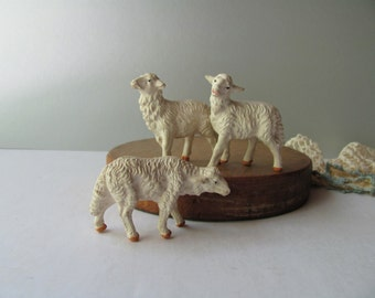 Vintage Nativity Chalkware Sheep Christmas Lamb Figurine Italy Chalk Standing Farm Animals Stable Decor Original Set 3 Stocking Stuffer Gift