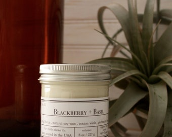 No. 02 Blackberry Basil- 8 oz. Soy Candle