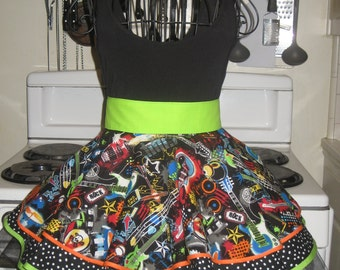 Rock and Roll Ladies Fancy Vintage Style Small Hostess Half Apron