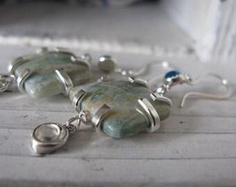 Topaz Dangle Earrings Artisan Earrings Silver Earrings Gemstone Earrings White Sapphire Earrings Jasper Unique Earrings Gift Earrings