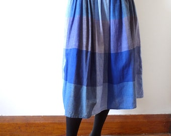 1980s Madras Plaid Cotton Full Skirt made in India - size M