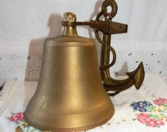 Vintage~Solid Brass Ship Bell~Nautical~Hanging Boat Anchor~Maritime