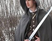 Wool Elf Cloak with Hood Medieval Hobbit Lord of the Rings