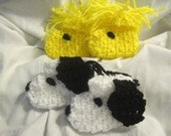 Pattern A Dog And His Best Friend Crochet Baby Bootie  (Snoopy/Woodstock Look-A-Like) 6  Baby Sizes Included Plus Hints On Child/Adult Sizes