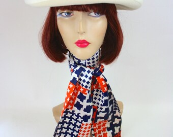 Vintage 70s Scarf Ladies XLong Red White & Blue Print Silky Head Neck Sash Belt Scarf