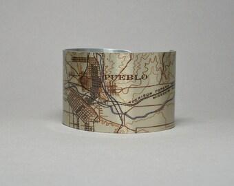 Pueblo Colorado Map Cuff Bracelet Unique Hometown City Gift for Men or Women