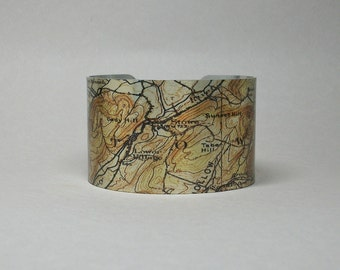 Stowe Vermont Map Cuff Bracelet Unique Gift for Men or Women Skiing Skier