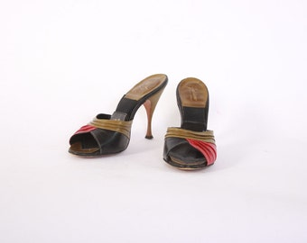 Vintage 50s Springolator HEELS / 1950s Tri-Tone Peep Toe Leather Pumps 6