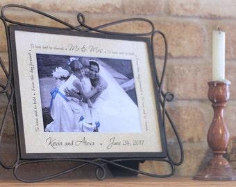 Personalized wedding photo mat -- anniversary, gift 10 and under, home decor, unique keepsake, wedding shower