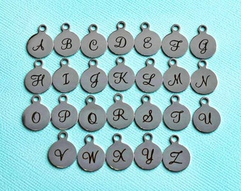 Stainless Steel Set of Alphabet Charms - Entire Alphabet Uppercase Cursive Script Letters Initials - Exclusive Line - ALPHA1500BFS
