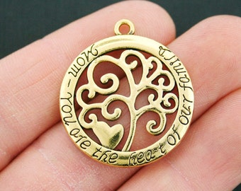 2 Mom Family Tree Charms Antique Gold Tone - GC765
