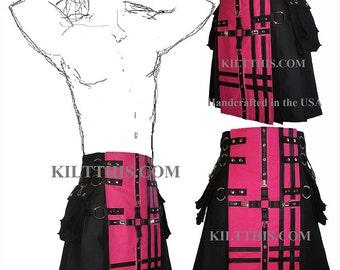 Interchangeable Black Canvas Cargo Utility Kilt Pink Cross Design Adjustable Custom Many Options