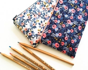 Rifle Paper Co Fabric Pencil Case, Womens Gift, Blue Floral Zipper Pouch, Stocking Stuffer College, Teens, Kids, Project Organizer Hobby Bag