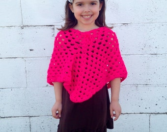 Girls Neon Pink Poncho, Ready to ship, Fits size 4t to 6x Crochet poncho