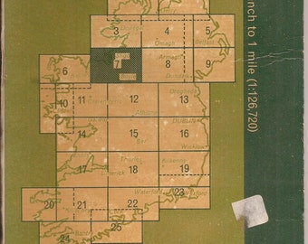"Ordnance Survey of Ireland, Sheet 7, Vintage Map, 30"" x 21"" Map of a Section of Ireland, Roadways, Footpaths, Railways, Hostels"