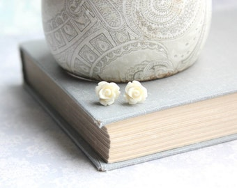Tiny Rose Stud Earrings Ivory Cream Studs Little Flower Earrings Surgical Steel Posts Nickel Free Gift for Girlfriend Small Post Earrings