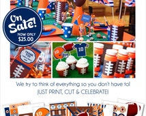 Football Party Decorations | Football Birthday Printable | Football Centerpiece | Sports Party | Football Tailgate | Amanda's Parties To Go