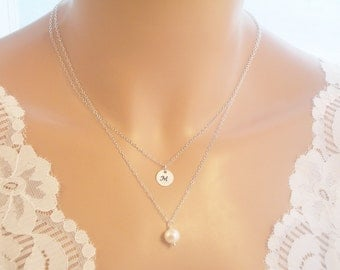 Single Pearl Necklace, Double Chain Dangling Single Freshwater Pearl Necklace with Initial Charm, Solitaire Necklace, Pearl Necklace
