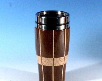Madagascar Rosewood Travel Mug with Hickory Highlights and a Stainless Steel Insert and Sliding Sipper Top