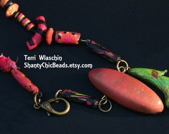 """Polymer Clay Handmade Necklace - """"Jubilee in the Garden""""  Contemporary STATEMENT Necklace"""