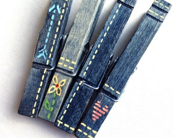 EMBROIDERED BLUE JEANS hand painted magnetic clothespins faded jeans