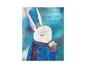 Original Nursery Art Whimsical Rabbit Painting Folk Art Storybook Art Cute Woodland Animal Blue Artwork Wall Decor for Babies