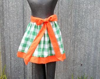 Miami Hurricanes Canes UM girls full green gingham Gathered Skirt w/ orange border and sash 13 inches long sizes  3 4 5
