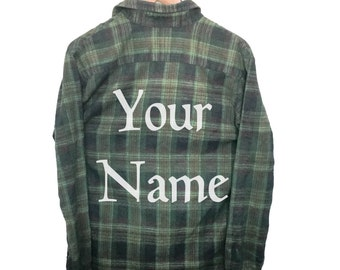 Custom Name Shirt on Plaid Flannel. Bleach dyed font first name last or middle personalized customizable custom made to order hipster gift