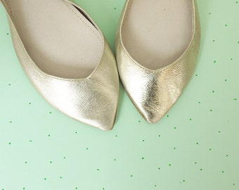 Ballet Flats Shoes Pointy Soft Gold Leather Slip on Ballerinas